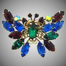Vintage rhinestone butterfly Brooch in lovely fall to winter hues