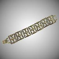 Etruscan design link silver tone Bracelet
