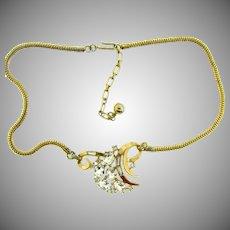 Signed Trifari 1940's Alfred Phillippe rhinestone choker necklace