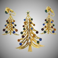 Signed Brooks Christmas tree brooch and matching clip on earrings