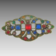 1940's white metal Brooch with gold wash and multicolored rhinestones
