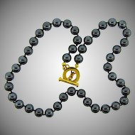 Signed Carolee hematite bead Choker Necklace