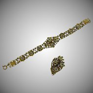 Early floral Bracelet and Dress Clip with raised glass centers