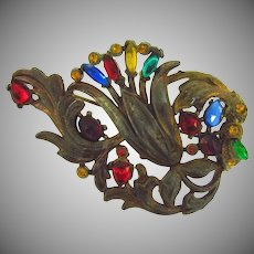 Large 1940's pot metal floral Brooch with multicolored glass stones