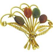 Vintage floral fan Brooch with semi precious stones