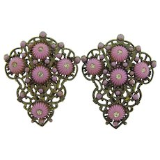 New England glass Works Art Deco pair of dress clips with thermoset rosettes and crystal rhinestones