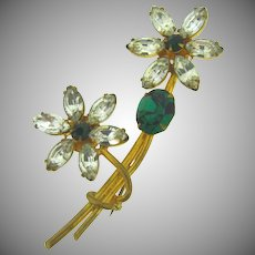 Vintage floral  Brooch with crystal and green rhinestones