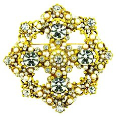 Signed Barrera massive Brooch with crystal rhinestones and imitation pearls