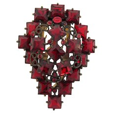 Large 1940's Dress Clip with deep red paste stones