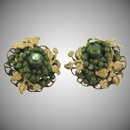 Vintage clip on Earrings with composition green beads  and gold tone leaves