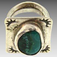 Massive hand made man's sterling silver Ring with malachite stone in a South Western design