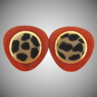 Mod 1960's root beer Lucite clip on Earrings with faux fur centers
