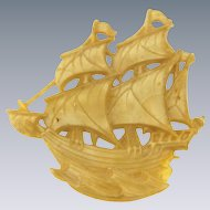 Vintage celluloid sailing ship Brooch