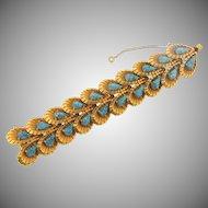Gorgeous gold tone vintage 1960's Bracelet with tear drop art glass stones