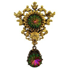 Gorgeous 2 part ornate Brooch featuring large watermelon Tourmaline stones