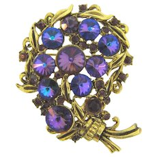 Signed Hollycraft gorgeous Brooch with deep purple and AB purple Rivoli rhinestones