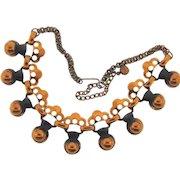 Signed Rebajes 1950's modernistic copper choker Necklace