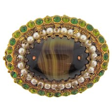 Made in Germany large Brooch with art glass cabochon, imitation pearls and green rhinestones