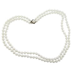 Signed Miriam Haskell vintage double strand 24 inch white glass bead Necklace
