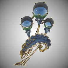Large 1940's pot metal floral Brooch with enamel blue glass buds