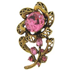 Signed Hollycraft COPR 1852 antiqued gold tone flower Brooch with pink rhinestones