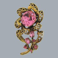 Signed Hollycraft COPR 1952 antiqued gold tone flower Brooch with pink rhinestones