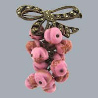 Unique vintage marcasite bow Brooch with a chain dangle of pink adventurine beads
