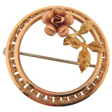Signed Krementz two tone raised circular Brooch with Rose