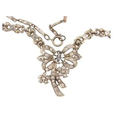Art Deco white metal choker pendant Necklace with crystal rhinestones