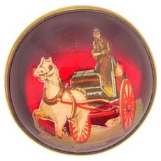Domed glass bridle rosette Brooch with horse drawn carriage die cut