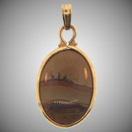 Small Jasper Pendant in gold filled frame