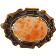 Small early 1900's Scatter Pin with an art glass cabochon in a gold filled frame