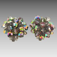 Vintage silver tone clip on Earrings with dazzling  AB crystal beads