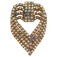 Vintage heart shaped 1960's rhinestone Brooch with dazzling AB stones