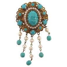 Beautiful filigree Brooch with turquoise colored and Art glass stones and imitation pearls