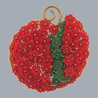 Vintage large figural apple Brooch of tiny plastic flowers wired to the frame