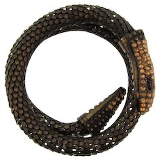 Vintage double coil snake mesh Bracelet with citrine rhinestone head and tail