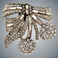Patent dated to the 1930's  crystal rhinestone Art Deco figural pot metal Dress Clip with cherry design
