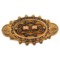 Early Victorian revival oval gold filled Brooch