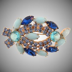 Vintage large 1960's rhinestone abstract Brooch in shades of blue
