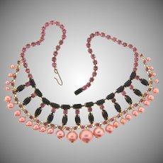 Vintage festoon choker Necklace with pink and black rhinestones and pink imitation pearls