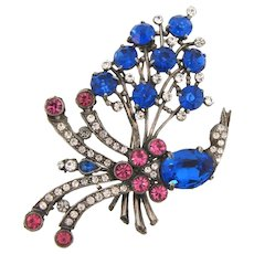 Gorgeous very large 1940's pot metal rhinestone Brooch of a floral spray with bird