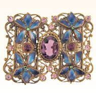 Early ornate filigree Belt Buckle with blue enamel flowers and purple and lavender glass stones