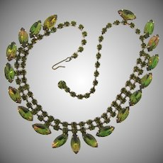 1960's  choker Necklace with olive green and two tone navette rhinestones