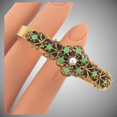 Vintage bangle Bracelet with side clasp and imitation pearl and small opaque green glass stones