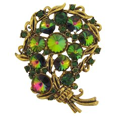 Signed Hollycraft vintage floral Brooch with watermelon rivoli stones