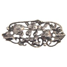 Signed Guglielmo Cini Sterling figural Brooch with fish and floral theme