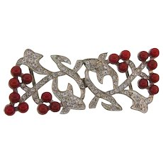 Unique Art Deco 2 part pot metal Belt Buckle with crystal rhinestones and red glass beads - Red Tag Sale Item