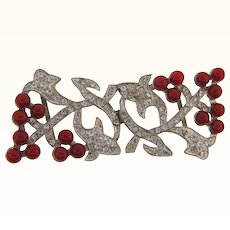Unique Art Deco 2 part pot metal Belt Buckle with crystal rhinestones and red glass beads
