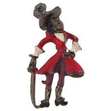 Small Captain Hook pirate pot metal scatter pin with enamel